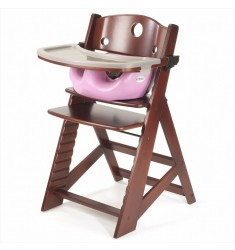 Keekaroo Height Right High Chair Mahogany + Infant Insert + Tray Combo