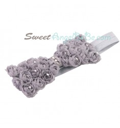 Rose Garden Headband - Gray (Elastic)