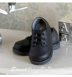 Designers Touch Black Leather Lace up